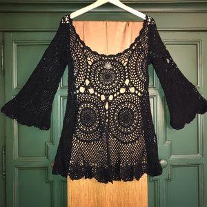 Eternal Sunshine Black Crochet Pullover Coverup